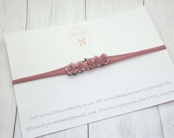Dusky Pink Rose Flo0wer Headband - Christening - Christening Headband - Wedding - Wedding Hair - Baby Headband - Girls Hair Accessories