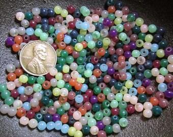 "1/4 Lb or 1/2 Pound of Tiny 3mm to 4mm Round ""Jadetone"" Glass Beads (about 1000 per quarter pound)- Random Color Assortment- Destash Lots"