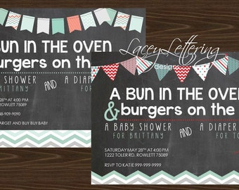 Bun in The Oven & Burgers on the Grill Shower Invitation Couple's Shower Diaper Party Baby Shower