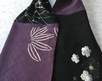 Embroidered Purple  silk kimono scarf