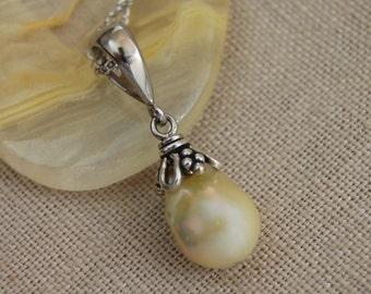 Perla - Golden Freshwater Pearl Pendant, pearl pendant, silver, pendant necklace, pearl jewelry, wedding, anniversary, June birthday, gift