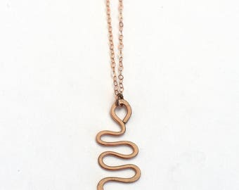 Mini Snake Necklace rose gold filled sterling silver gold filled serpent small necklace curvy swirl hammered delicate layering necklace