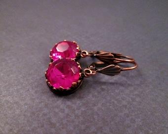 Rhinestone Earrings, Hot Pink Glass and Copper Dangle Earrings, FREE Shipping U.S.