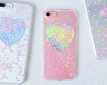 Holographic Pink Hearts Silicone iPhone Case - iPhone 6, 6s, 6 Plus, 6s Plus, 7, 7 Plus, 8, 8 Plus, X