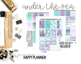 Printable Weekly Kit, Weekly Sticker Kit, Printable Planner Stickers, with Cut Files, for use with Happy Planner | Under the Sea