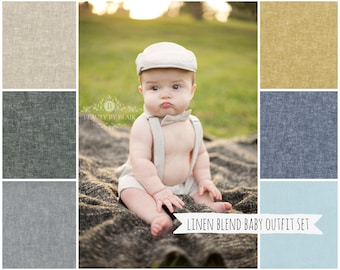 Baby boys Easter outfit, Linen toddler Easter outfit, toddler ring bearer outfit, baby wedding outfit, newsboy hat outfit -  made to order