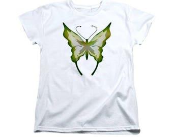 Green Butterfly T-shirt, Ladies Feminine Clothing, Spring Digital Design, Flying Garden Insect, Women's Wearable Art, Ladies Girls Shirt