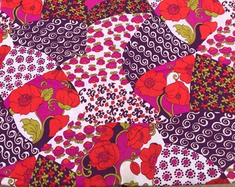 3 Yards in 3 Pieces of Vintage Red, Purple and White Floral Print Georgette Fabric
