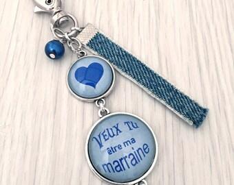 porte-clés bijou de sac a message personnalisé veux tu être ma marraine bleu.REF.27