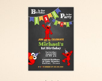 Elmo Birthday Invitation, Elmo Birthday Party, 1st, 2nd, 3rd, 4th, Elmo Invitation, Kids Birthday Invitation, digital, K9004