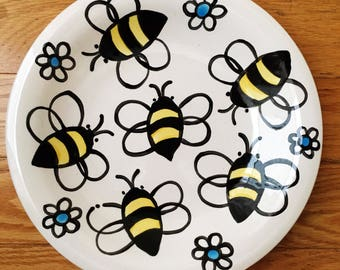 Handmade Ceramic plate with bees on it by Artzfolk whimsical fun for a beekeeper