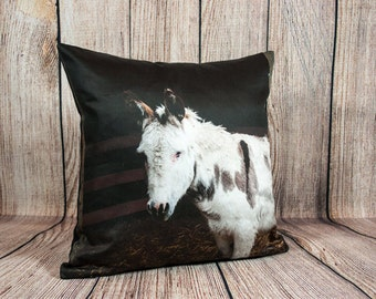 Donkey Pillow Cover,  Modern Farmhouse Style Home Decor, Rustic Pillow Cover Made in Canada, Farm Animal Decorative Throw Cushion Case