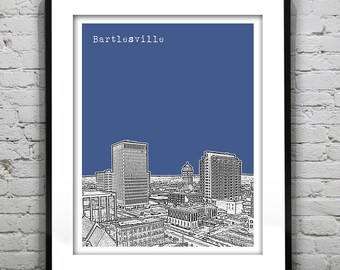 Bartlesville Oklahoma City Skyline Poster Art Print Version 1