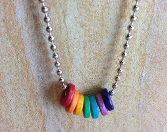 Rainbow Necklace, Pride, Chakra, Hippie, Taste the Rainbow Necklace, Colorful Greek Ceramic Disks Pride Hippie PLUR Rave