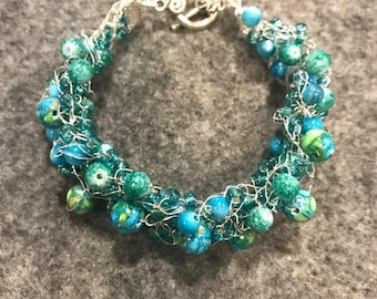 Aqua Bead Soup Bangle Bracelet