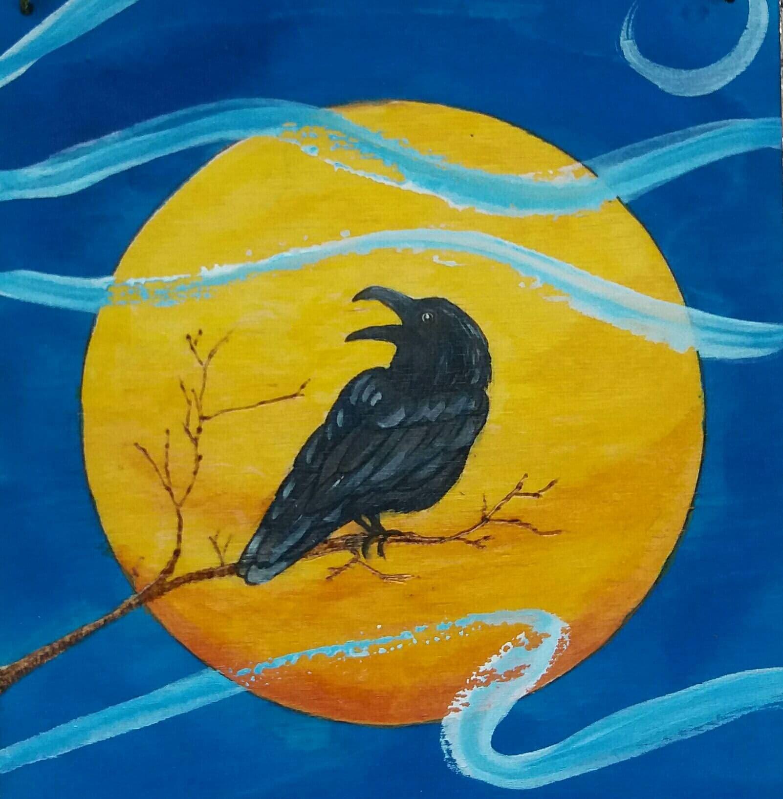 Pyrography Wall Art / Raven art / moon art / pyrography art /