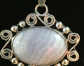 signed blue lace agate sterling silver pendant