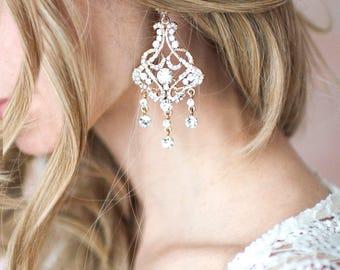 Vintage Style Statement Bridal Earrings, Weddings Earrings Gold, Rose Gold, Silver, Crystal Chandelier Earrings  - 'FELICITY'