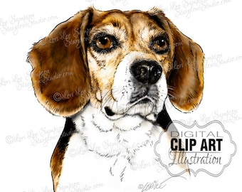 Dog Clipart Beagle Art | Digital Download | Scrapbooking Clipart | Paper Crafts | Dog Portrait | Dog Art | Animal Clip Art (01710c)
