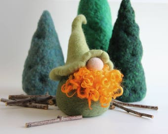 Large Gnome Green Irish Needle Felted Wool Forest Home Decoration