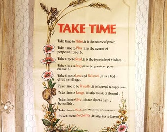 Vintage tea towel made in Ireland by lamont B.0094 linen  cotton dish towel take time poem 19×29 in travel souvenir