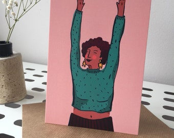 Hands in the Air, Illustrated Postcard