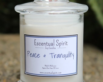 Peace and Tranquility Aromatherapy Intention Candle with Pure Essential Oils