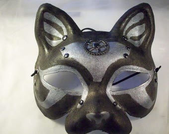 Egyptian-Steampunk Cat Mask - Silver & Black