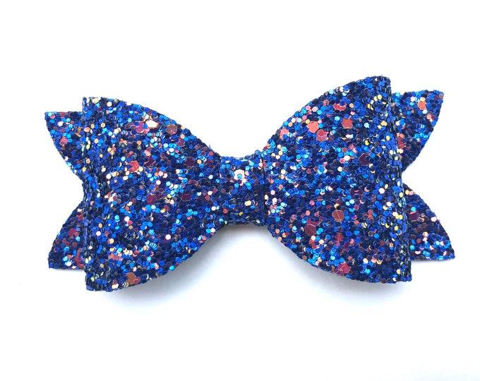 Blue glitter hair bow - hair bows, bows, hair bows for girls, baby bows, pigtail bows, toddler bows, girls hair bows, hairbows, hair clips