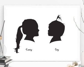 2 Custom Silhouette from your photo, Profile Silhouette, Silhouette Art, Silhouette Portrait, Birthday Gift, Father's Day Gift
