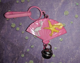 Vintage Bell charm Pink fan with birds chinese - Charm Bracelet - Necklace - Retro Keychain clip - Zipper Pull - Kitsch Kawaii Mini 80s