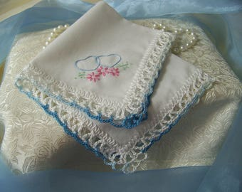 Blue Handkerchief, Blue Hanky, Blue Hankie, Something Blue, Bridal Keepsake, Hand Crochet, Ready to ship
