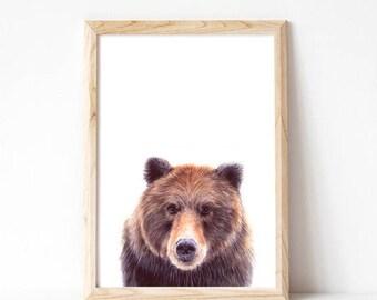 woodland nursery, woodland nursery decor, bear prints, bears, art prints, boys room wall art, boys room decor, kids room decor, wall art