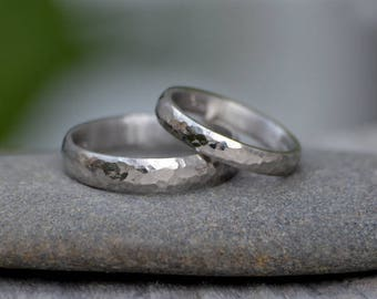 Platinum Wedding Band With Hammer Effect, Platinum Wedding Ring, 3mm Wide or 4mm Wide, Rustic Wedding Band, Made To Order