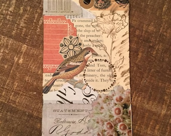 Paper Collage Nature Themed Art Tag Bookmark Junk Journal
