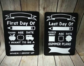 Back to school boards - first day of school and last day of school - double sided - chalkboard and dry erase boards - one time use