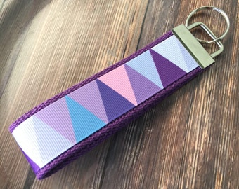 Purple Triangle Key Fob Wristlet / Key Chain
