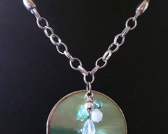 Genuine RARE Lime Green Mother of Pearl Necklace, Jewelry, Exclusive & Adjustable with FREE GIFT