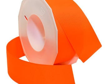 "CLEARANCE! - 5/8"" Morex Neon & Brights Grosgrain - Neon Orange - 20YDS - Only 1 Roll Left!"
