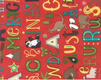 Hello World - Quilting Fabric from Moda - Red Animal and Word Print