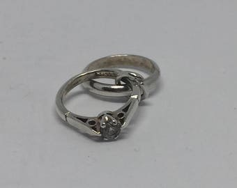 Vintage silver engagement and wedding ring charm