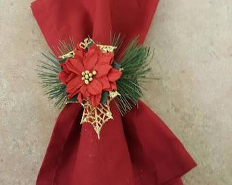 Poinsettia napkin rings Set of 4