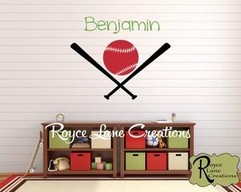 Baseball Decal - Personalized Name Baseball Decal B27 - Baseball Wall Decal - Sports Decal -Baby Boy Toddler Boy Teen Room Decor