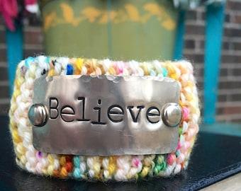 Believe Christian Bracelet Cuff, Hand Stamped Inspirational Bracelet, Bible Verse Jewelry, Knit Cuff Bracelet