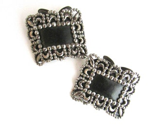 Cut Steel Shoe Clips Buckles French France Antique Crescent Moon
