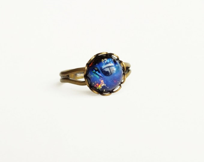 Small Black Glass Opal Ring Vintage Black Fire Opal Ring Iridescent Black Jewelry Opal Adjustable Antique Brass Ring