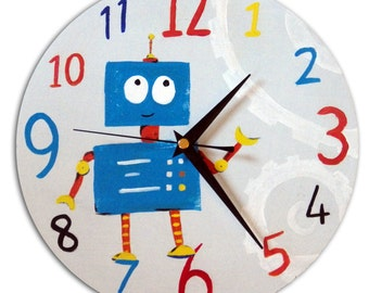 Robot Clock / Children's Wooden Wall Clock / Boys Nursery Decor / Hand-painted