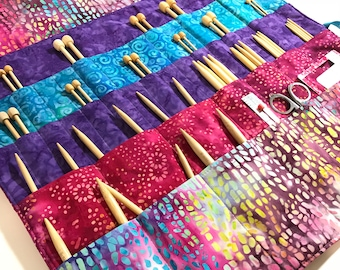 Large Knitting Needle Case/Organizer in 100% Batik Cotton (K150)