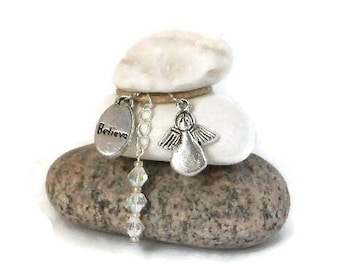 Believe Angel Rock Cairn Mini, Guardian, Stacked Stone Rock, Spiritual Gift, Guide, Communion, Stone Cairn, Stacked Stones, Desk Gift, Pray