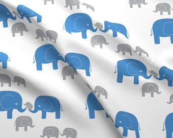 Blue + Gray Elephant Fabric - Elephants (In Gray/Blue) By Kendrashedenhelm - Boys Nursery Decor Cotton Fabric By The Yard With Spoonflower